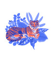 graphic tiger having a rest among exotic leaves vector image