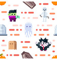 halloween seamless pattern design with ghosts vector image