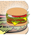 hamburger with cheese lettuce onion and meat vector image