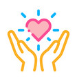 hand hold heart icon outline vector image vector image