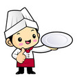 happy chef character is holding a plate isolated vector image vector image