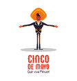 happy cinco de mayo card mexican mariachi man vector image vector image