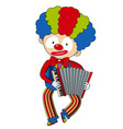 happy clown playing accordion vector image vector image