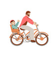 happy father riding a bicycle with kid on baby vector image