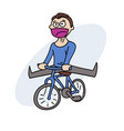 happy man with bycicle vector image vector image