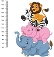 Height scale with funny Africa animal collection vector image vector image