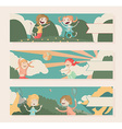 Horizontal banners with kids playing outdoor vector image vector image