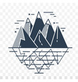 icon of mountains in a linear vector image