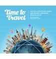 landmarks on globe travel to world tourism vector image vector image