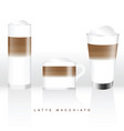 latte macchiato in three glass vector image