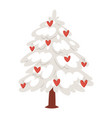 love tree christmas new year heart icons vector image vector image