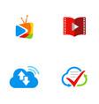 media cloud movie logos vector image
