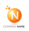 n letter splash orange dots and circle bubble vector image vector image