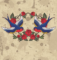 old school frame with roses and birds vector image vector image