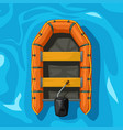 orange color inflatable boat on blue water vector image vector image