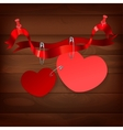 pinned heart on wood vector image vector image