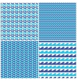 set blue waves seamless patterns vector image vector image