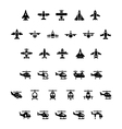 set icons planes and helicopters vector image vector image