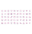 set network social media icons line vector image vector image