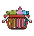 shopping basket with products vector image vector image