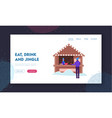 street food and drink at christmas fair website vector image