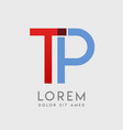 tp logo letters with blue and red gradation vector image vector image