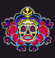 woman sugar skull with floral ornaments poster vector image