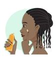 African american girl applies a cream on the skin vector image