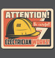 attention banner with precaution about electricity vector image vector image