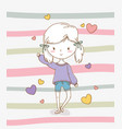 beautiful little girl with pastel colors and vector image