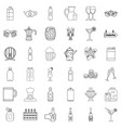 beer bottle icons set outline style vector image vector image