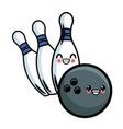 bowling ball and pins kawaii cute cartoon vector image vector image