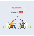 Boy and girl talking on the internet vector image