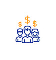 business networking line icon dollar sign vector image