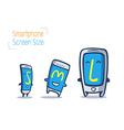 cartoon smart phone size comparison vector image vector image