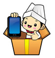 chef character is instructing holding a vector image vector image