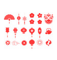 chinese new year red symbols and icons collection vector image
