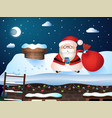 christmas card santa carries gifts to their homes vector image vector image