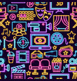 cinema film neon seamless pattern vector image vector image