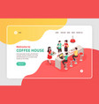 coffee house isometric banner vector image vector image