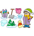collection of winter images vector image