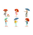 collection people walking under colorful vector image vector image