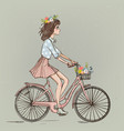 cute cartoon girl on bike vector image vector image
