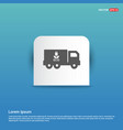 ecology truck icon - blue sticker button vector image