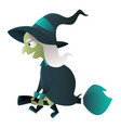 evil witch cartoon character vector image vector image