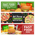 fast food pizza burger fries and sandwich vector image vector image