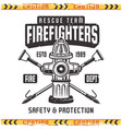 firefighter retro emblem with fire hydrant vector image vector image