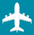 Flat design airplane top view vector image