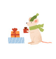 funny mouse holding christmas gift box flat vector image