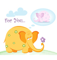 Funny pink elephant in love vector image vector image